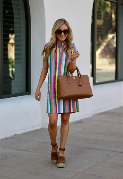 Rainbow Striped Lapel Dress