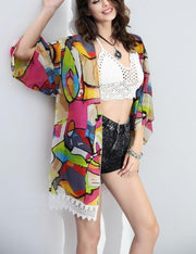 Rainbow Chiffon Beach Cover Up
