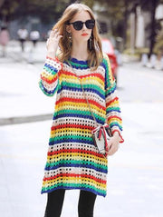 Rainbow Loose Sweater Dress