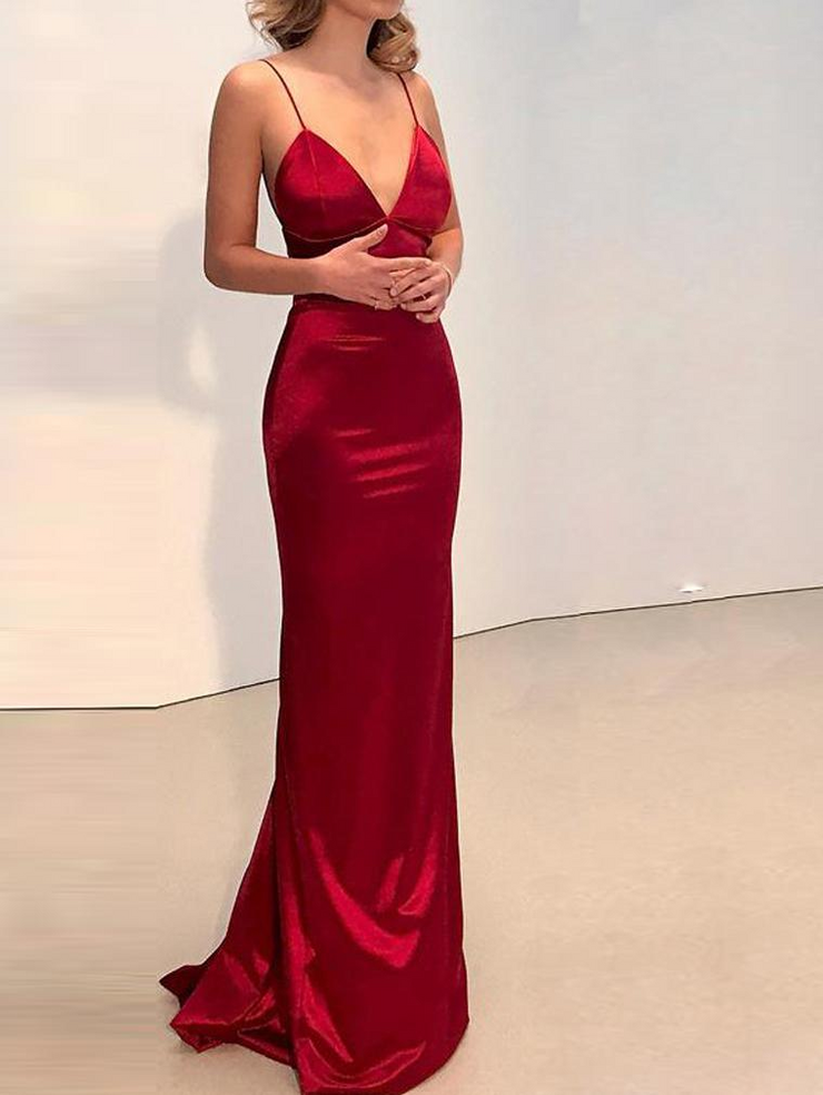 Red Deep V Neck Evening Dress
