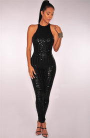 Round Neck Halter Sequined Women's Clothing