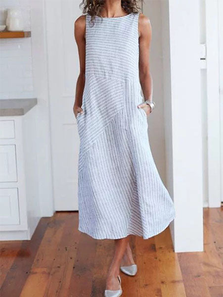 Round Neck Striped Cotton Midi Dress