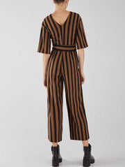 Round Neck Striped Jumpsuit