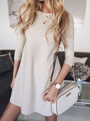 Round neck solid color dress