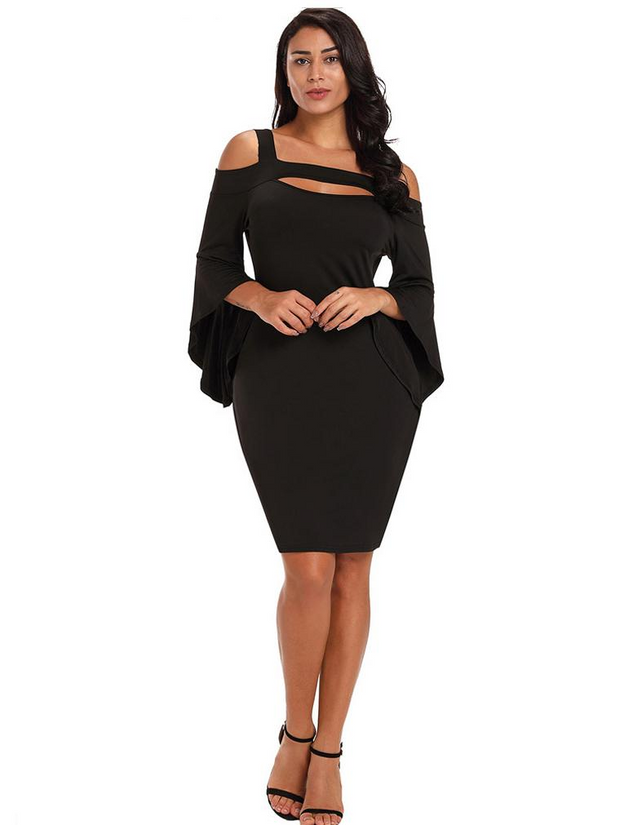 Sexy Black Irregular Bodycon Dress