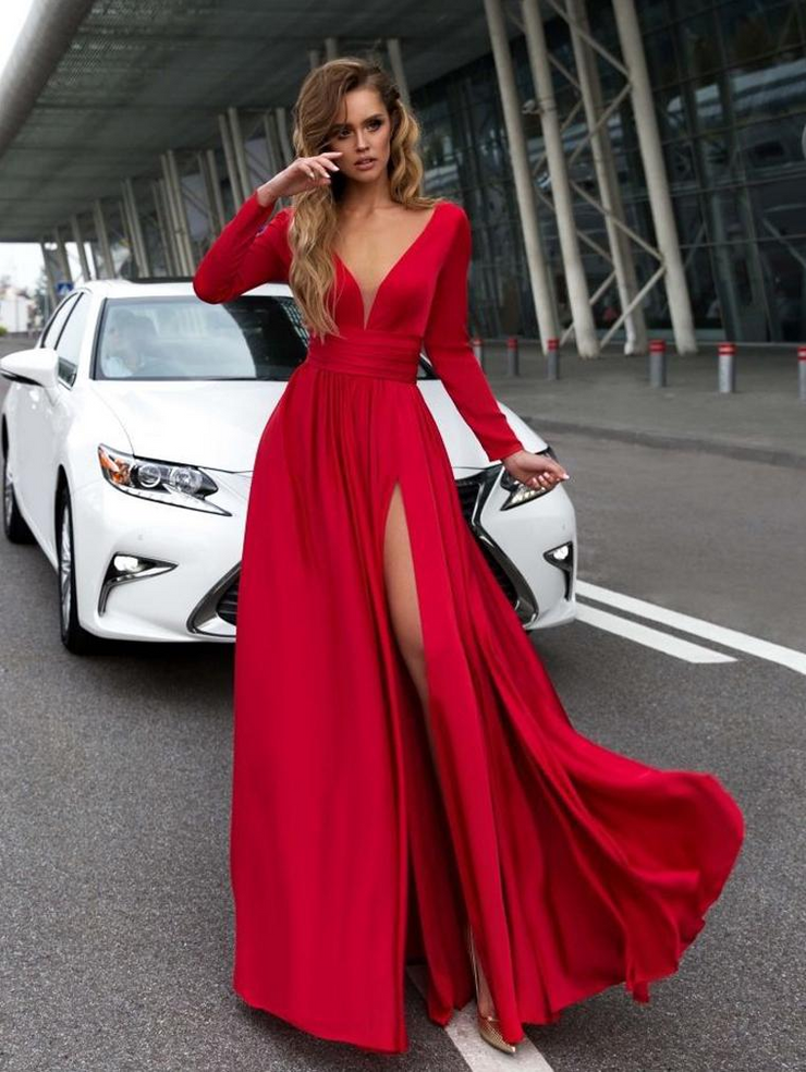 Sexy Deep V Long Sleeve Dress