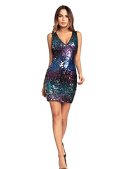 Sexy Sequin Short Dress