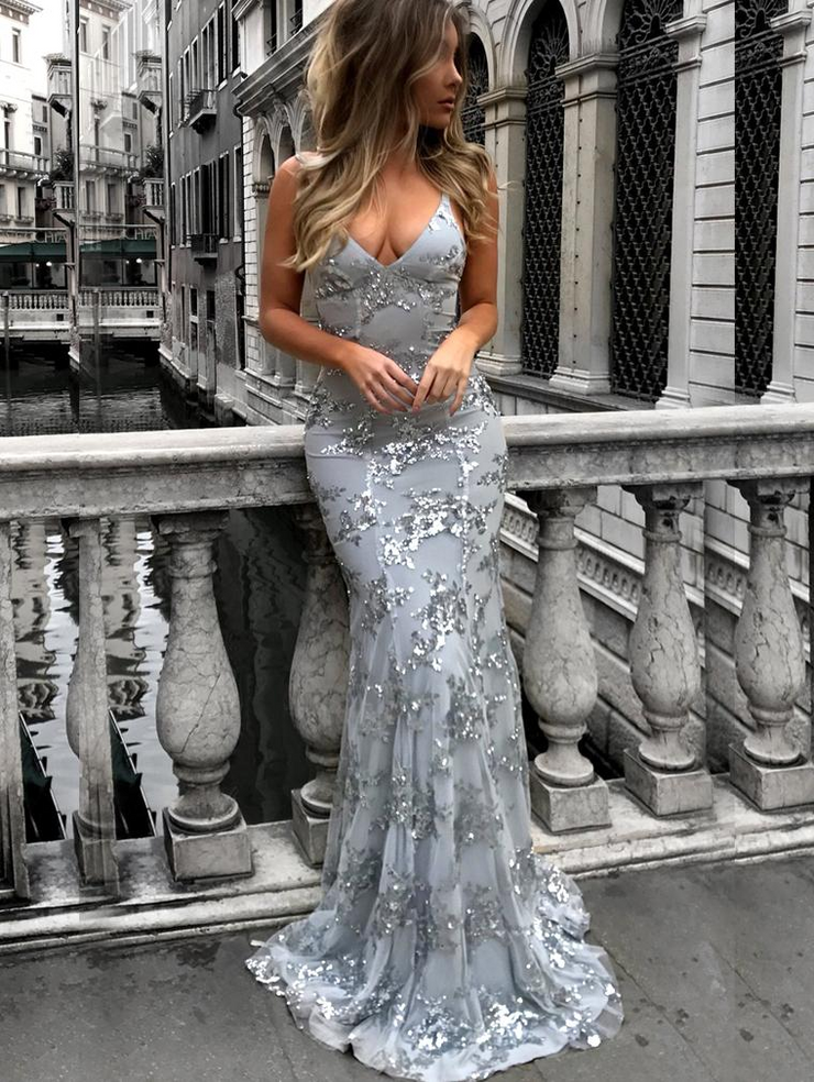 Sexy V Neck Bling Evening Dress