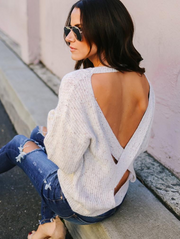 Sexy White Open Back Sweater