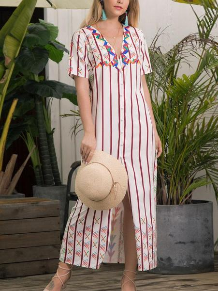 Short Sleeve V-Neck Striped Dress