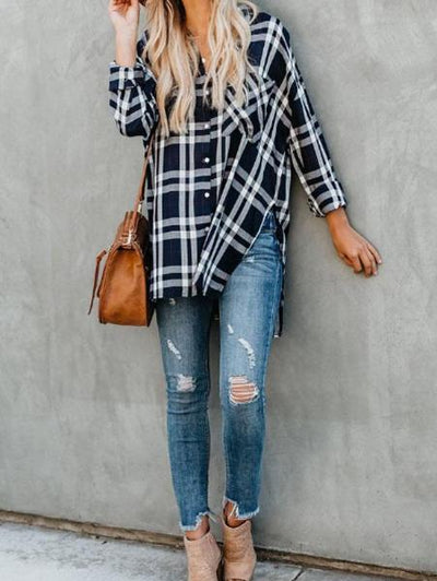 Single-Breasted Plaid Long-Sleeved Shirt