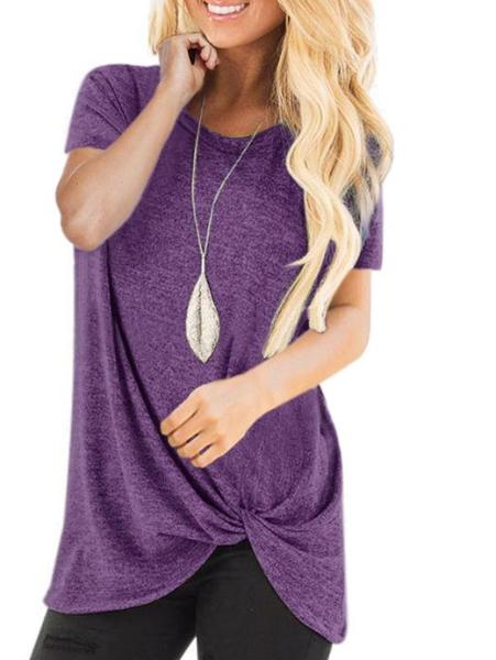 Solid Color Short Sleeve Sexy Shirt