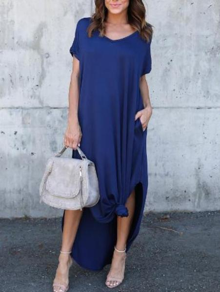 Solid Color Short Sleeve V-Neck Dress
