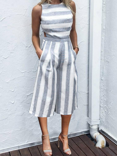 Stripe Backless Jumpsuits