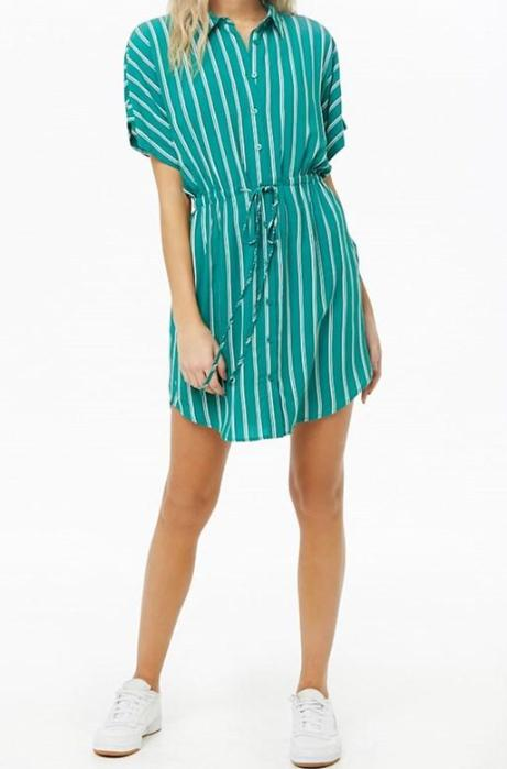 V Neck Striped Dress