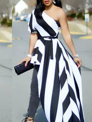 Striped Irregular Casual Dress