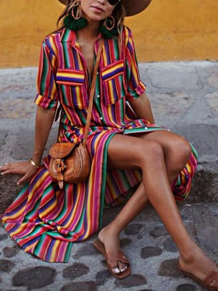 Stylish Color Striped Button Dress