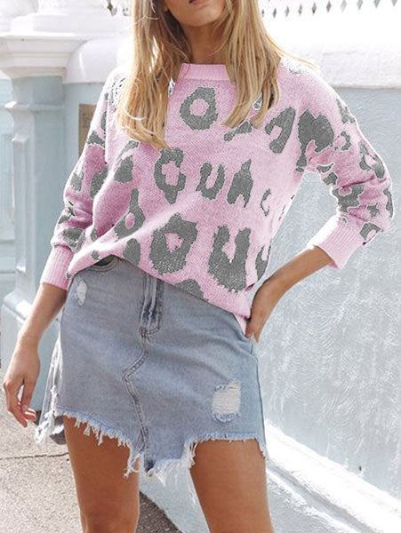 Sweet Chic Leopard Print Sweater