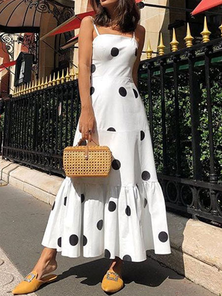 Sweet Polka Dot Maxi Cami Dress