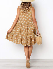 Sweet Ruffle Polka Dot Print Dress
