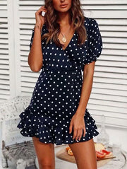 Sweet Backless Polka Dot Mini Dress