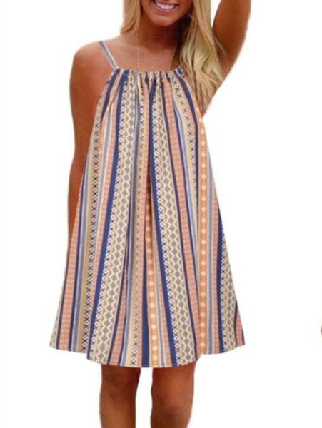 Sweet Multicolor Striped Dress