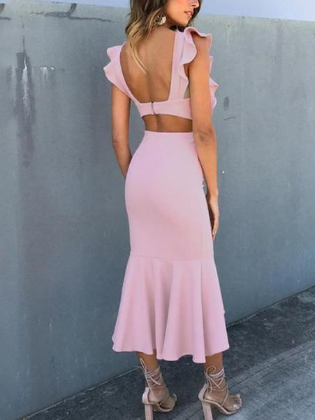 Sweet Ruffle Midi Dress