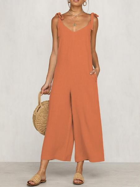 Sweet Self-Tie Loose Jumpsuit