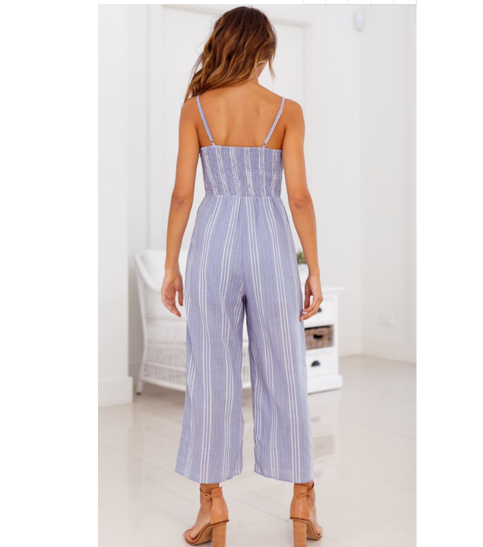 Sweet Striped Tie-Front Jumpsuit