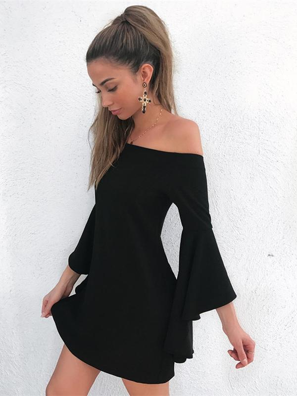 Black Off-the-shoulder Flared Sleeves Mini Dress