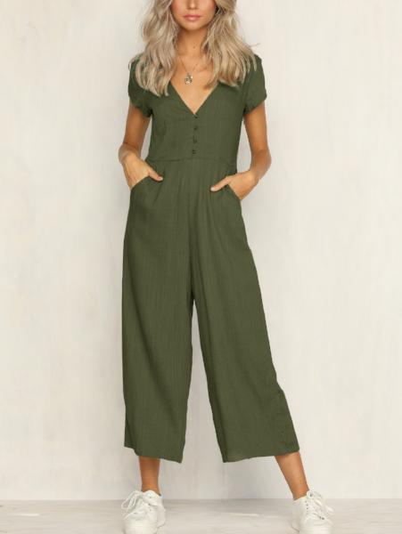 Casual Button Jumpsuit