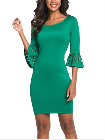 Trumpet-Sleeve Round Neck Dress