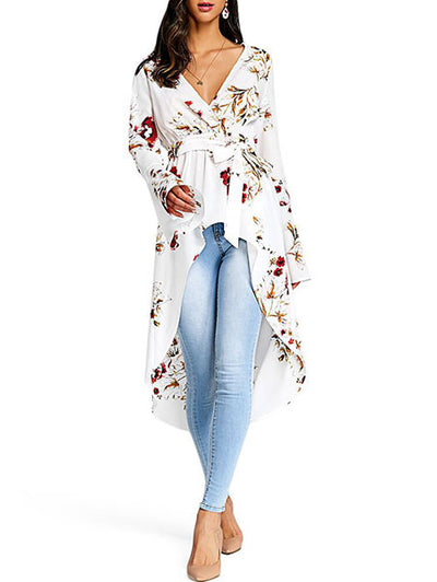 V Neck Floral Print Irregular Dress