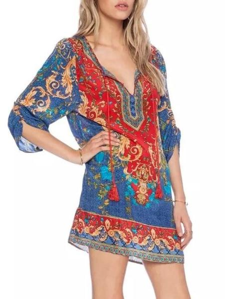 V-Neck Print Short Dress