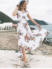V-Neck Printed Chiffon Sexy Split Dress