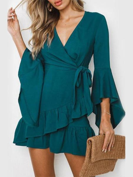 V-Neck Ruffled Banded Dress