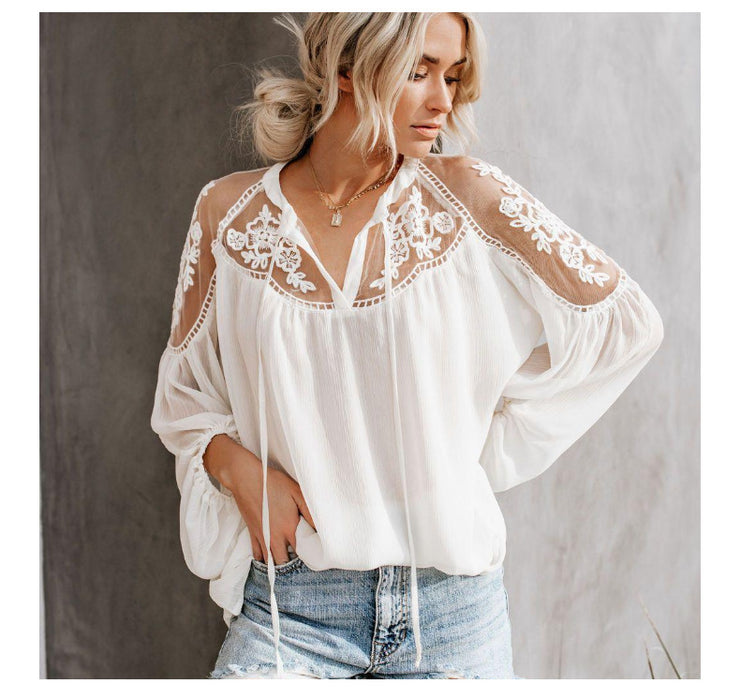 V-neck long-sleeved cutout embroidered shirt