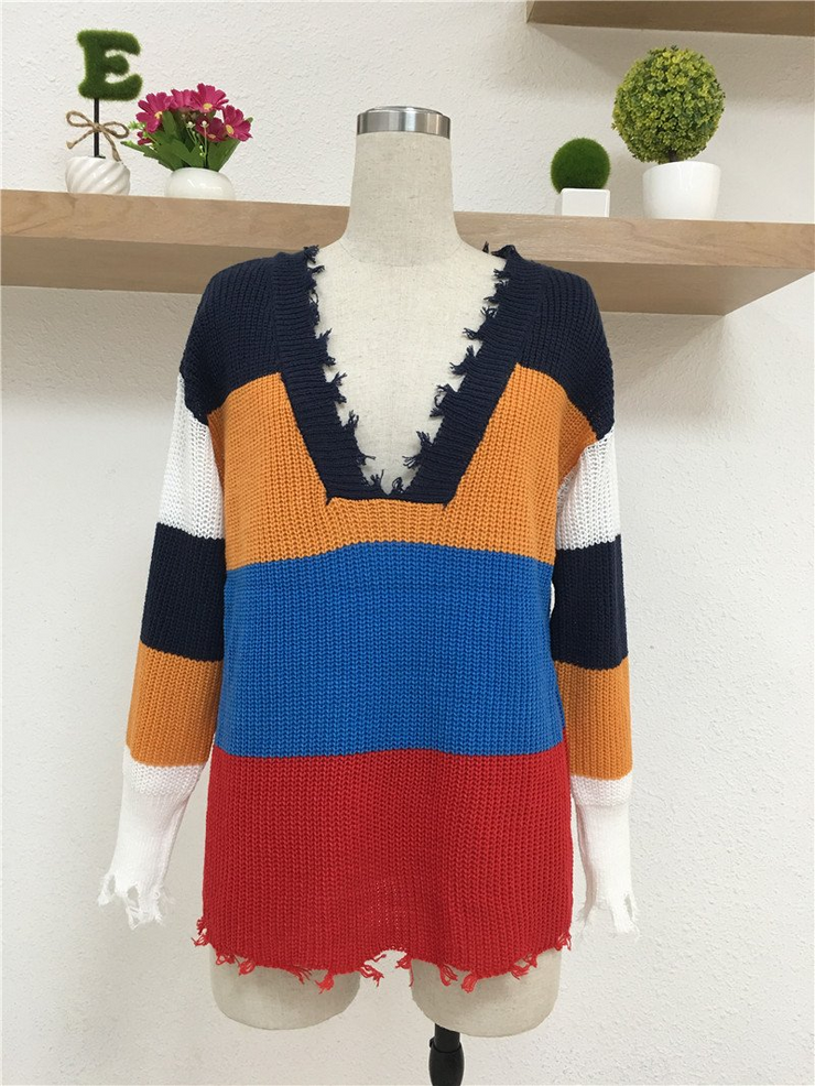V Neck Rainbow Sweater