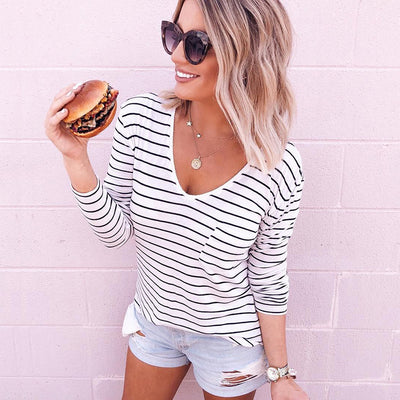 White Striped Long Sleeve T-Shirt