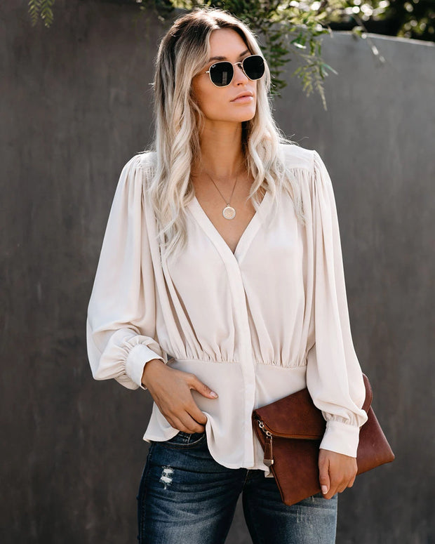 White V-neck sexy loose long-sleeved shirt