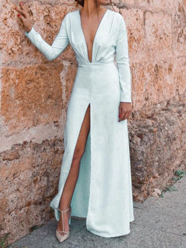 Solid Color V Neck Split-side Maxi Dress