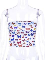 Butterfly Printed Off Shouler Tees