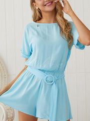 Casual Solid Color Rompers