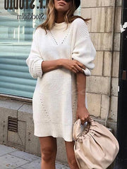 Fashion Solid Color Sweater Tops