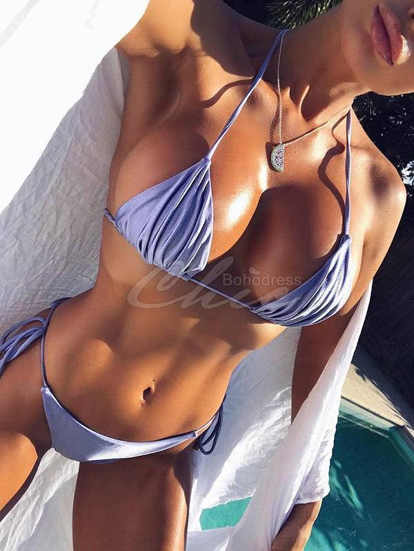 Backless Bandage Split Bikini Swimsuit
