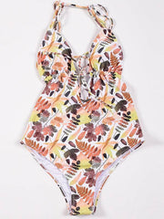 Floral-Print Bandage One-Piece Swimwear