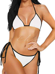Solid Color Triangles Bandage Split Bikini Swimsuit