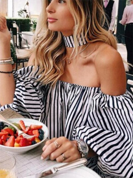 Off-Shoulder Striped Shirt