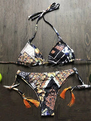 Floral-Print Tasseled Triangles Split Bikini Swimsuit