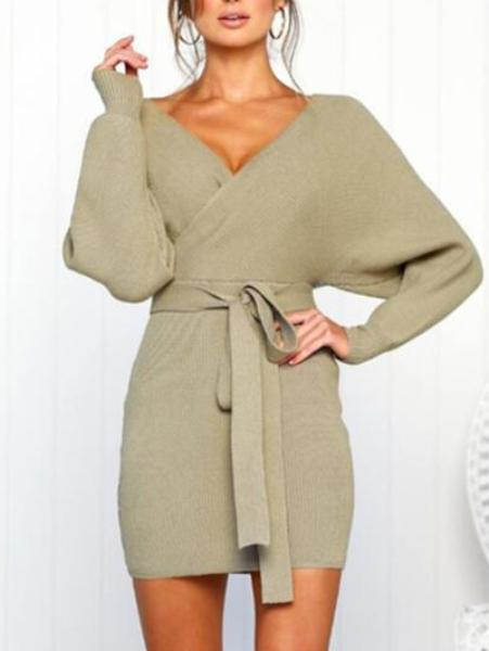 V Neck Long Sleeve Sweater Short Dress